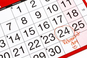 Retirement day circled and marked off in red ink on a generic calendar without a month or year identified