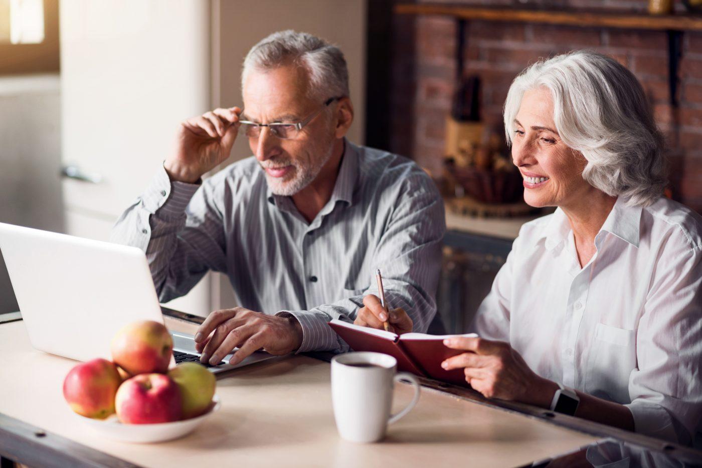 couple reviewing retirement plans